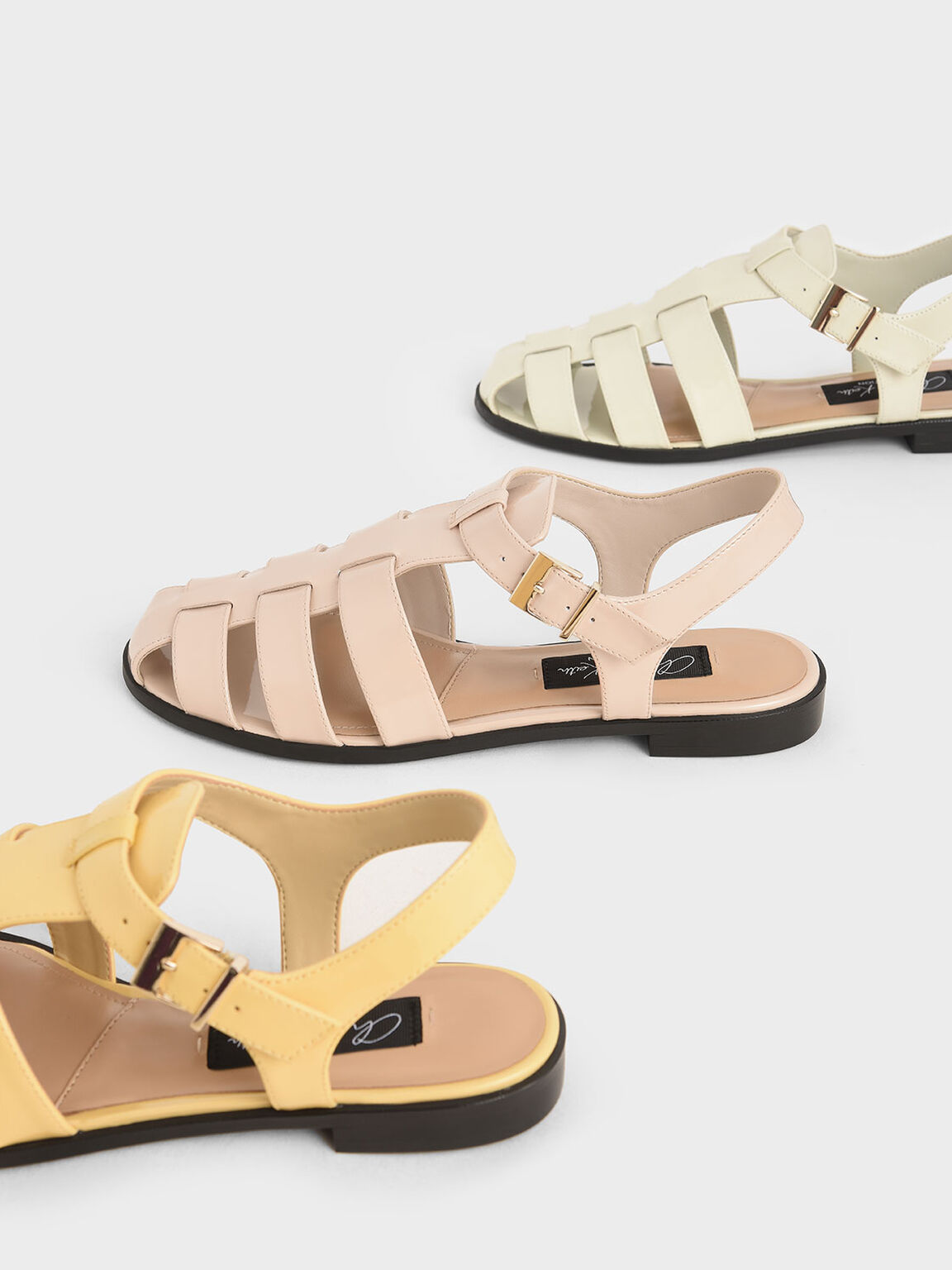 Patent Leather Caged Sandals, Light Pink, hi-res