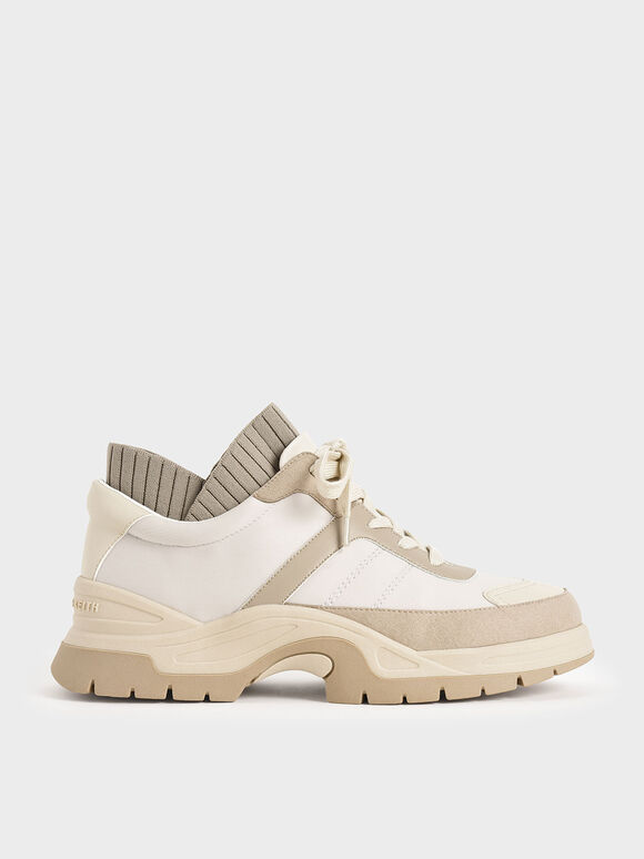 Two-Tone Chunky Sneakers, Beige, hi-res