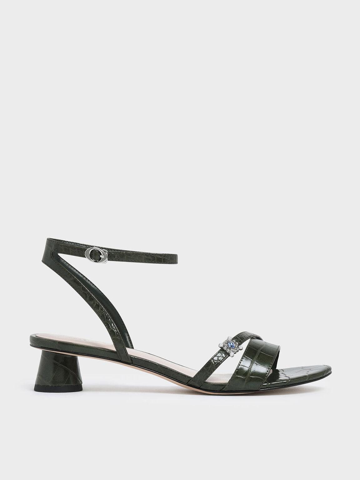 Croc-Effect Gem Embellished Cylindrical Heel Sandals, Green, hi-res