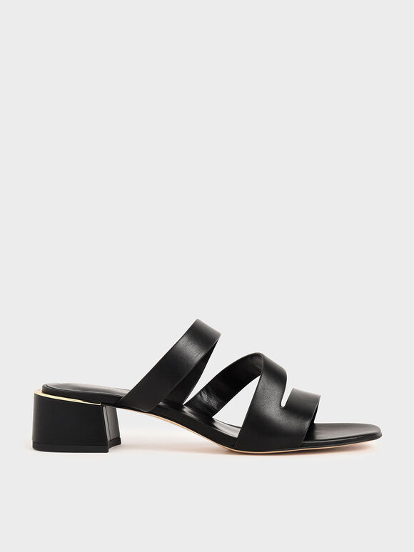 Strappy Block Heel Sandals, Black, hi-res