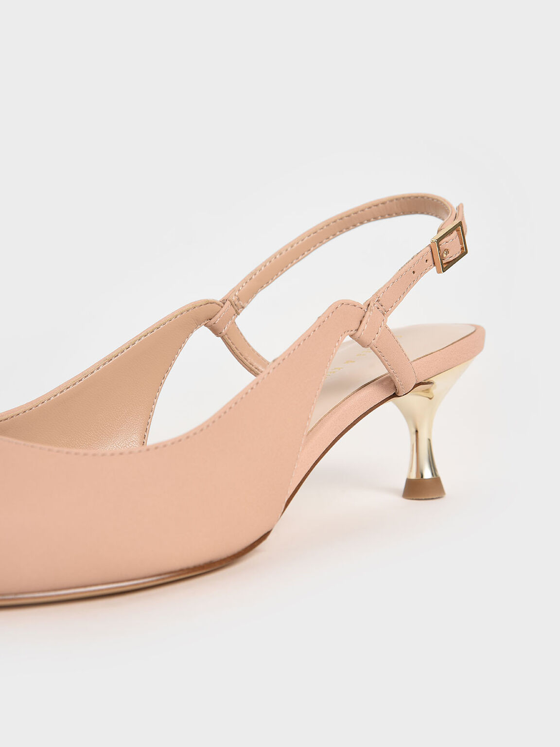 Cut-Out Slingback Kitten Heel Pumps, Nude, hi-res