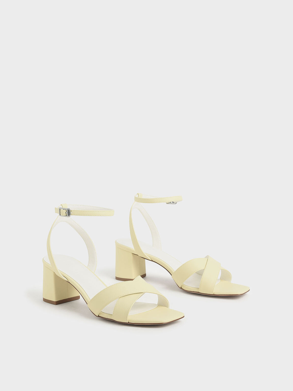 Criss Cross Block Heel Sandals, Yellow, hi-res