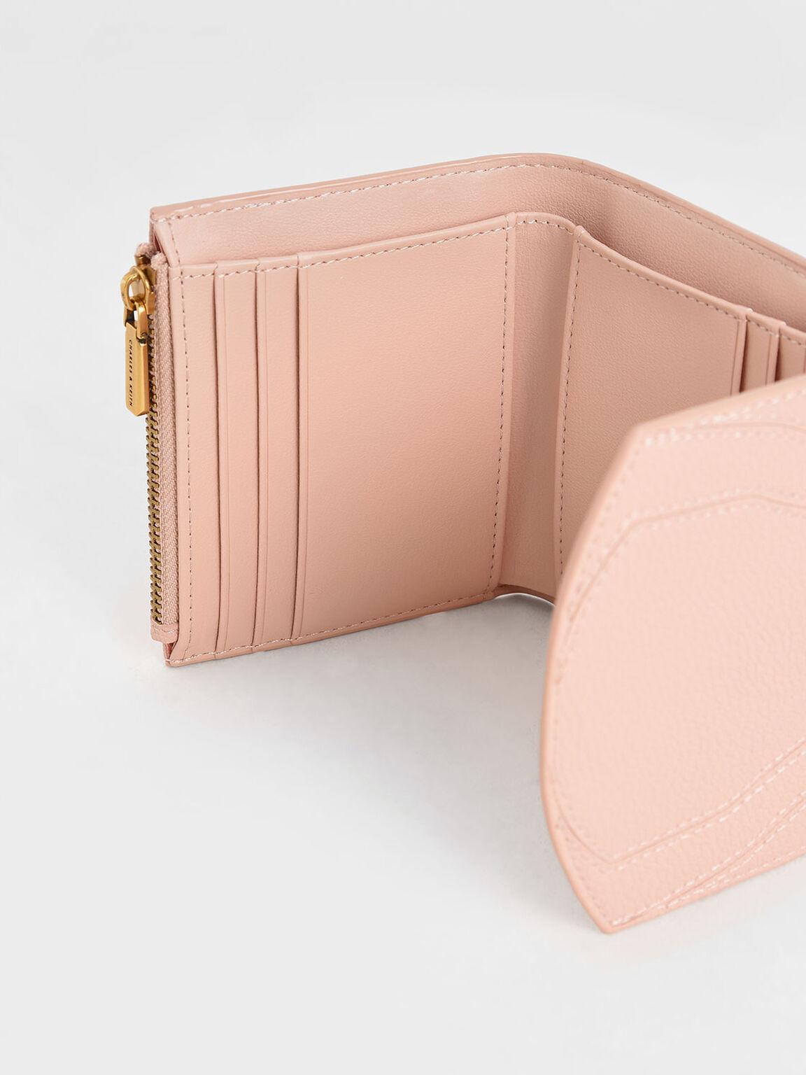 Push-Lock Mini Wallet, Pink, hi-res