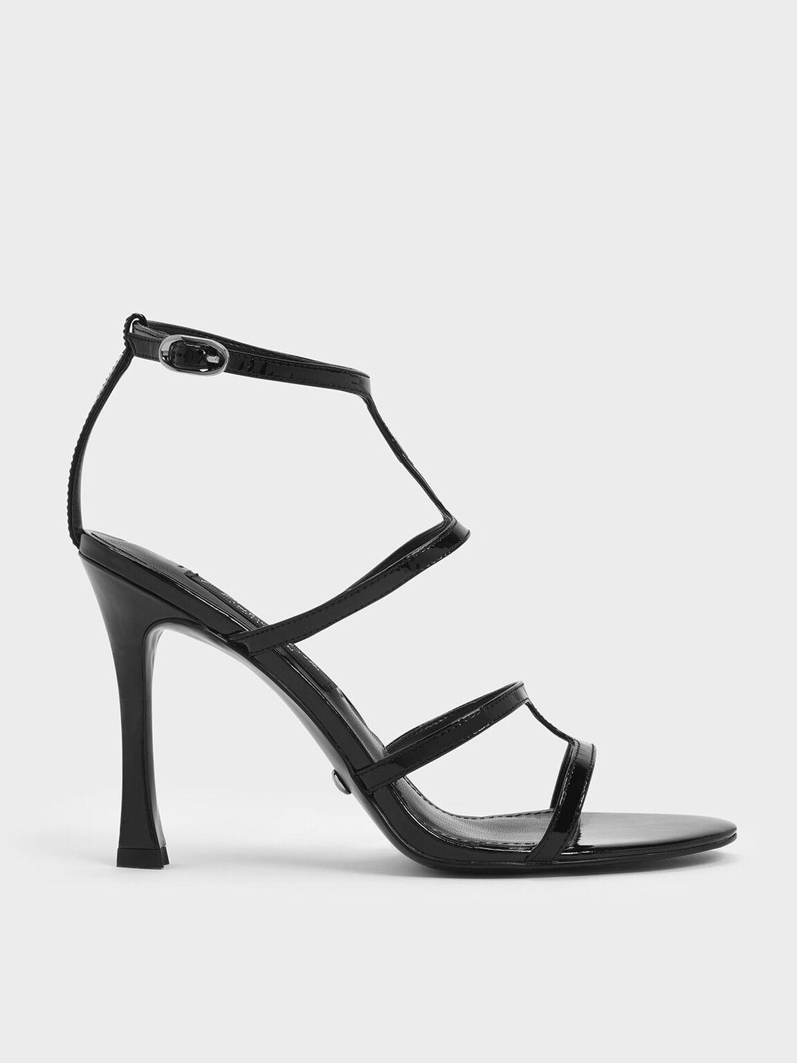 Patent Leather Strappy Stiletto Heel Sandals, Black, hi-res