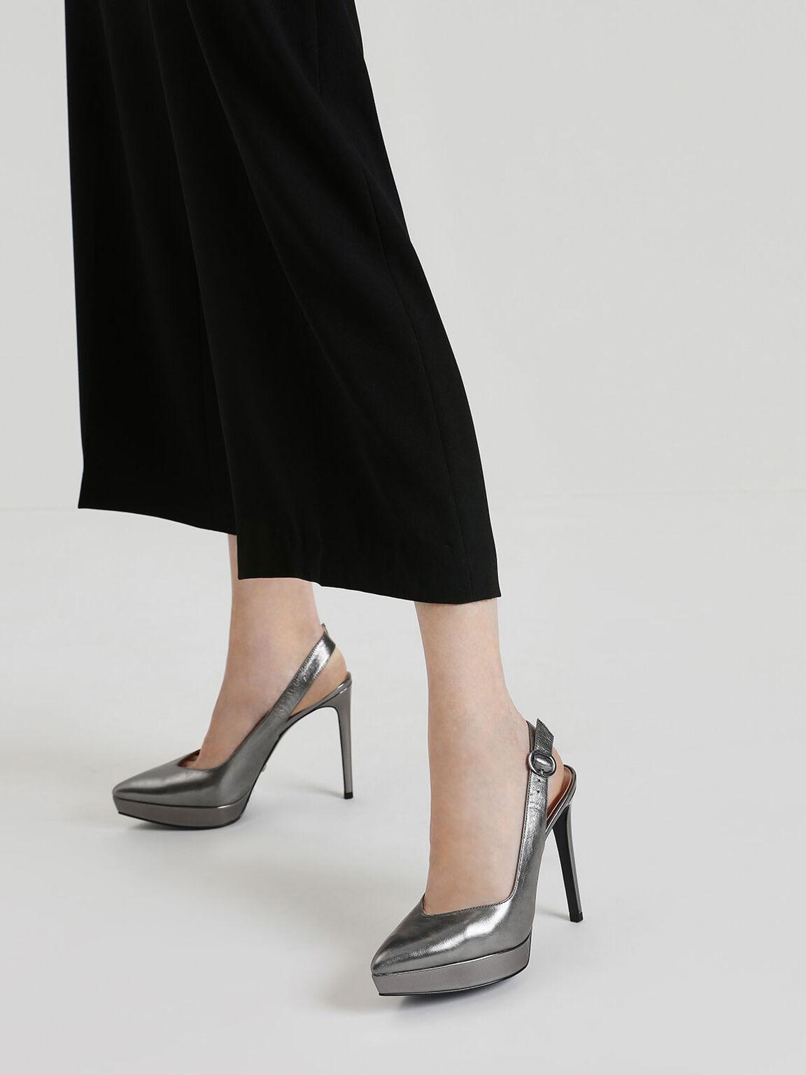 Wrinkled-Effect Leather Slingback Platform Heels, Pewter, hi-res