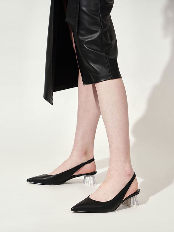 Geometric Heel Slingback Pumps, Black, hi-res
