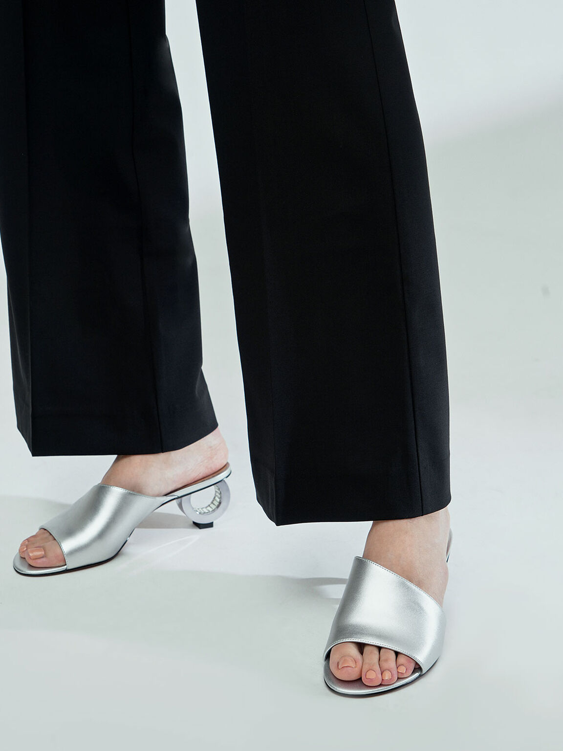 圓環跟拖鞋, 銀色, hi-res