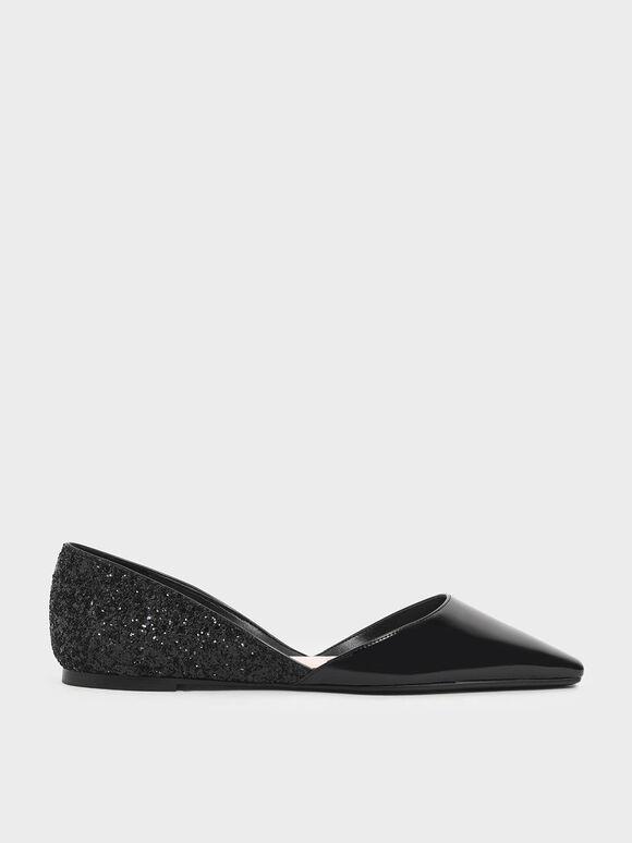 Patent Glitter D'Orsay Flats, Black, hi-res