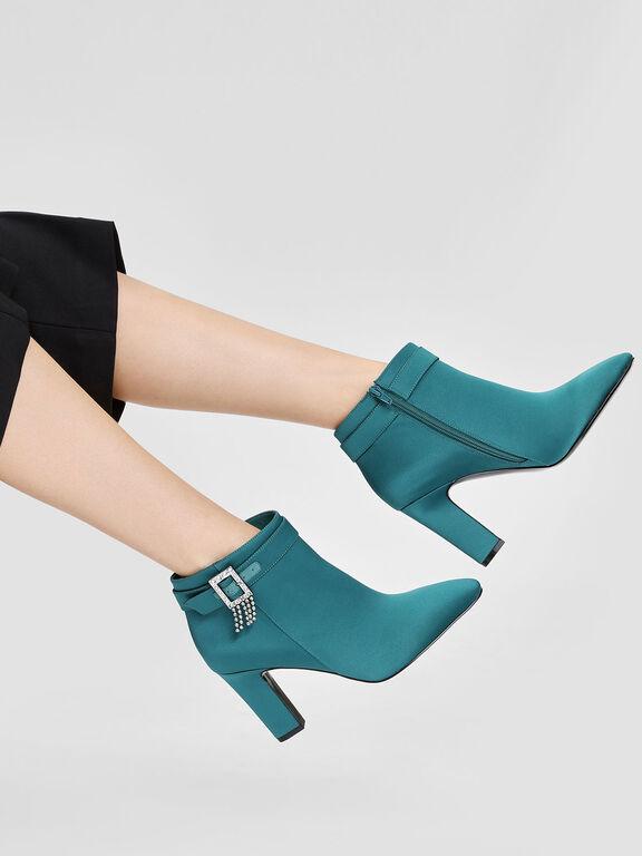 Crystal Embellished Buckle Boots, Green, hi-res