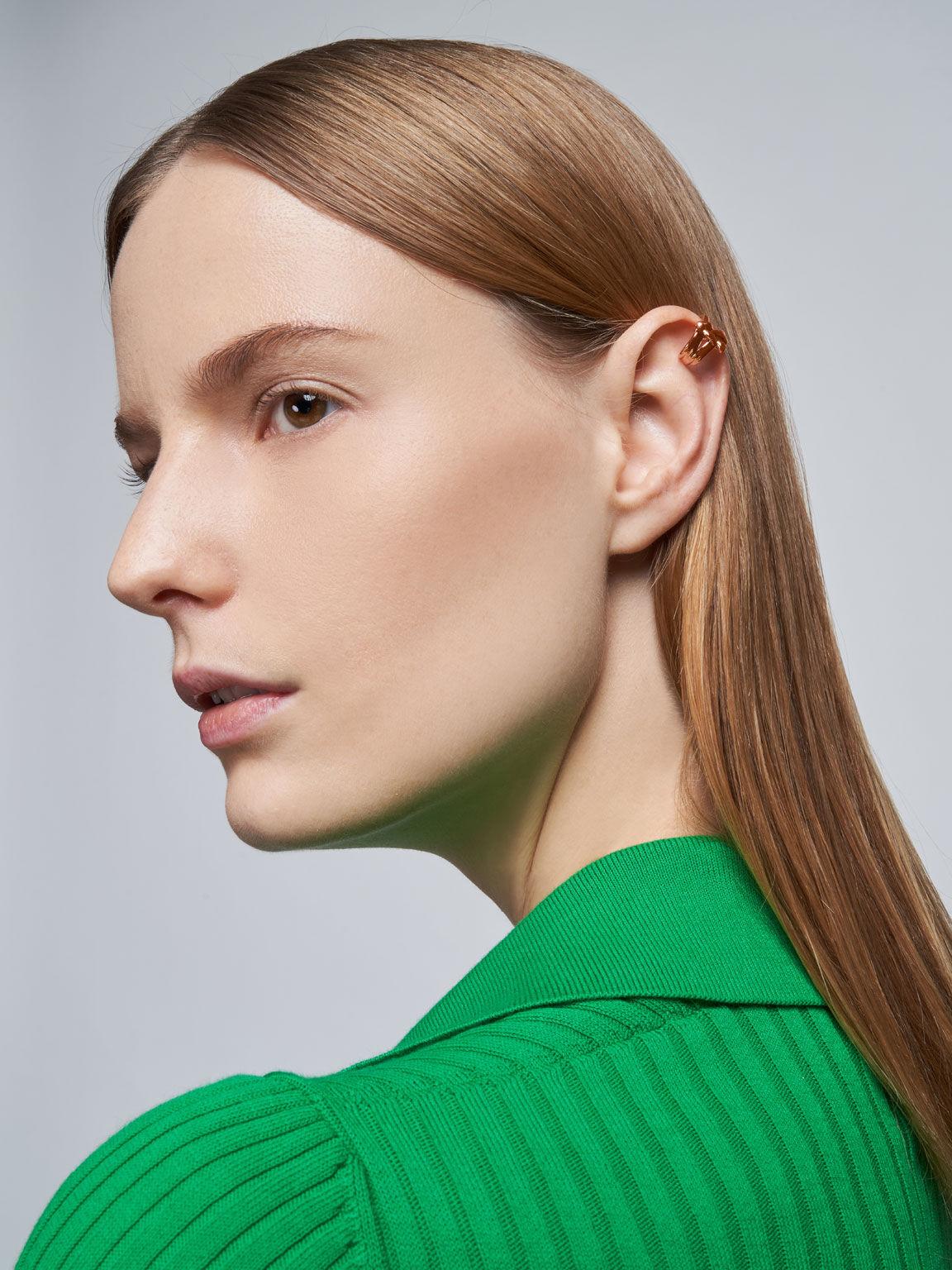 Sculptural Hoop Earrings, Rose Gold, hi-res