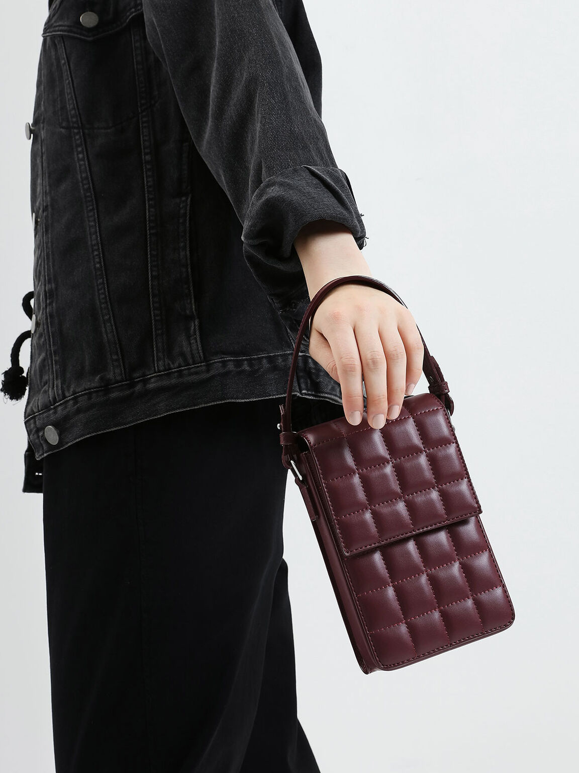 Quilted Wallet, Burgundy, hi-res