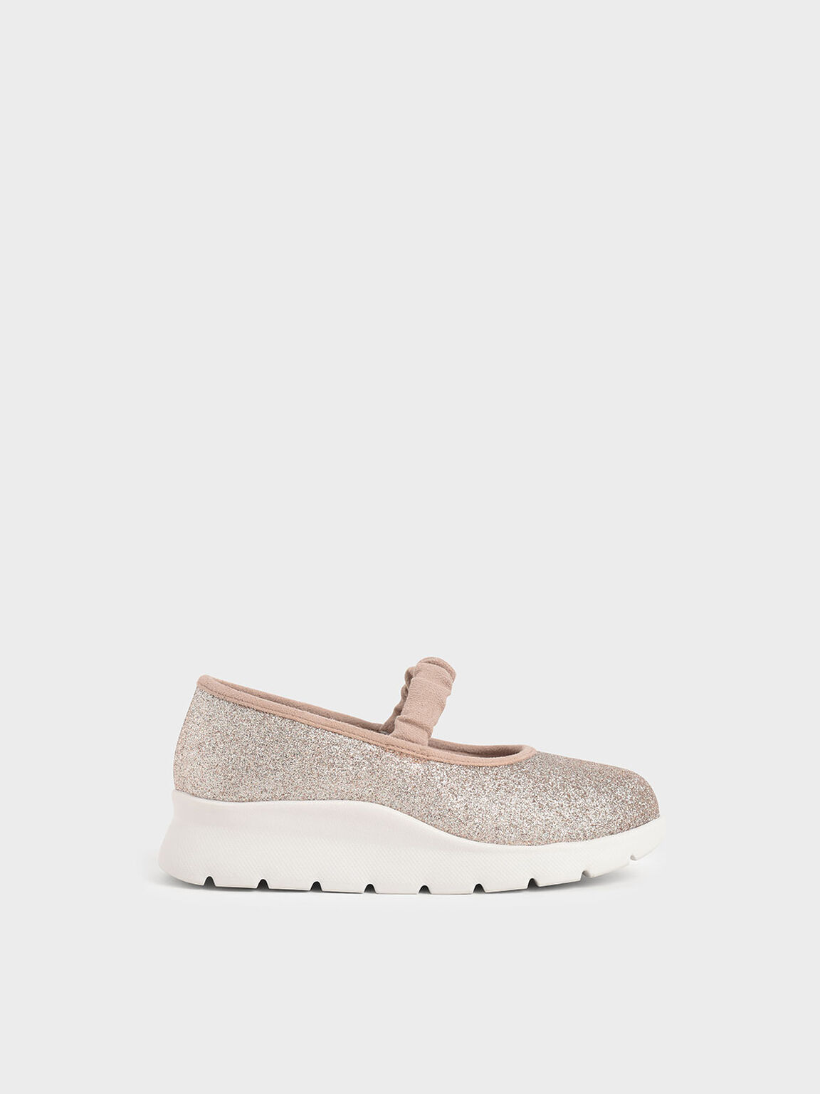 Girls' Glitter Ruched Strap Slip-On Sneakers, Light Pink, hi-res