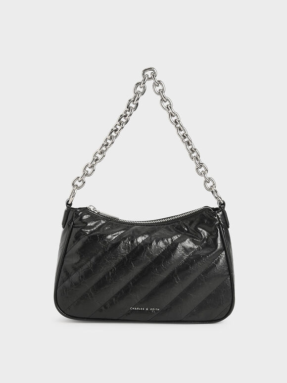 Panelled Chain Handle Crossbody Bag, Black, hi-res