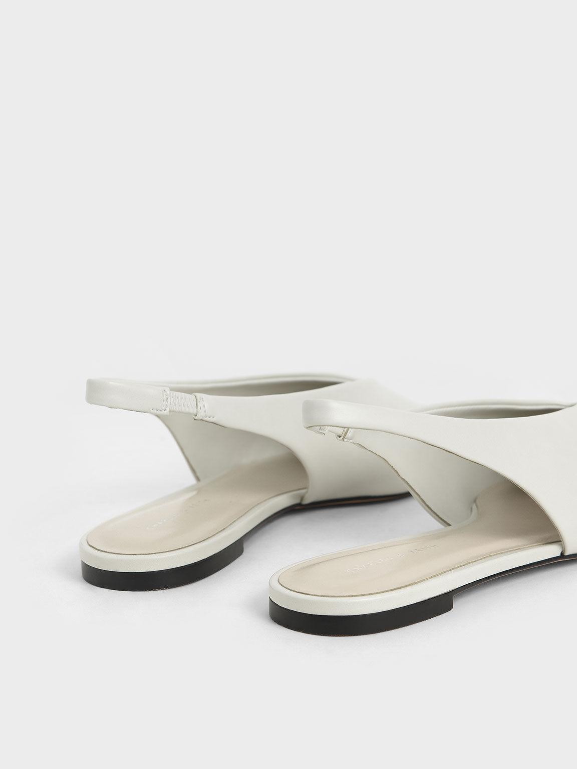Pointed Toe Slingback Ballerinas, White, hi-res