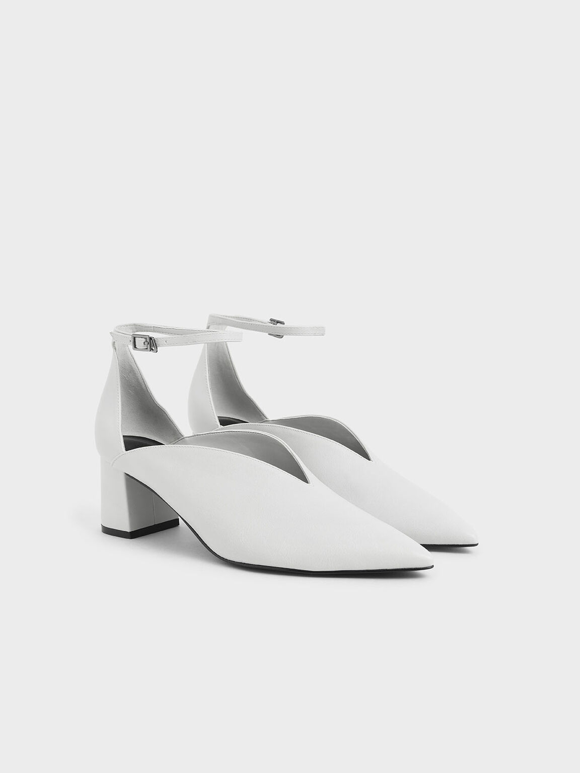 V-Cut Ankle Strap Pumps, White, hi-res