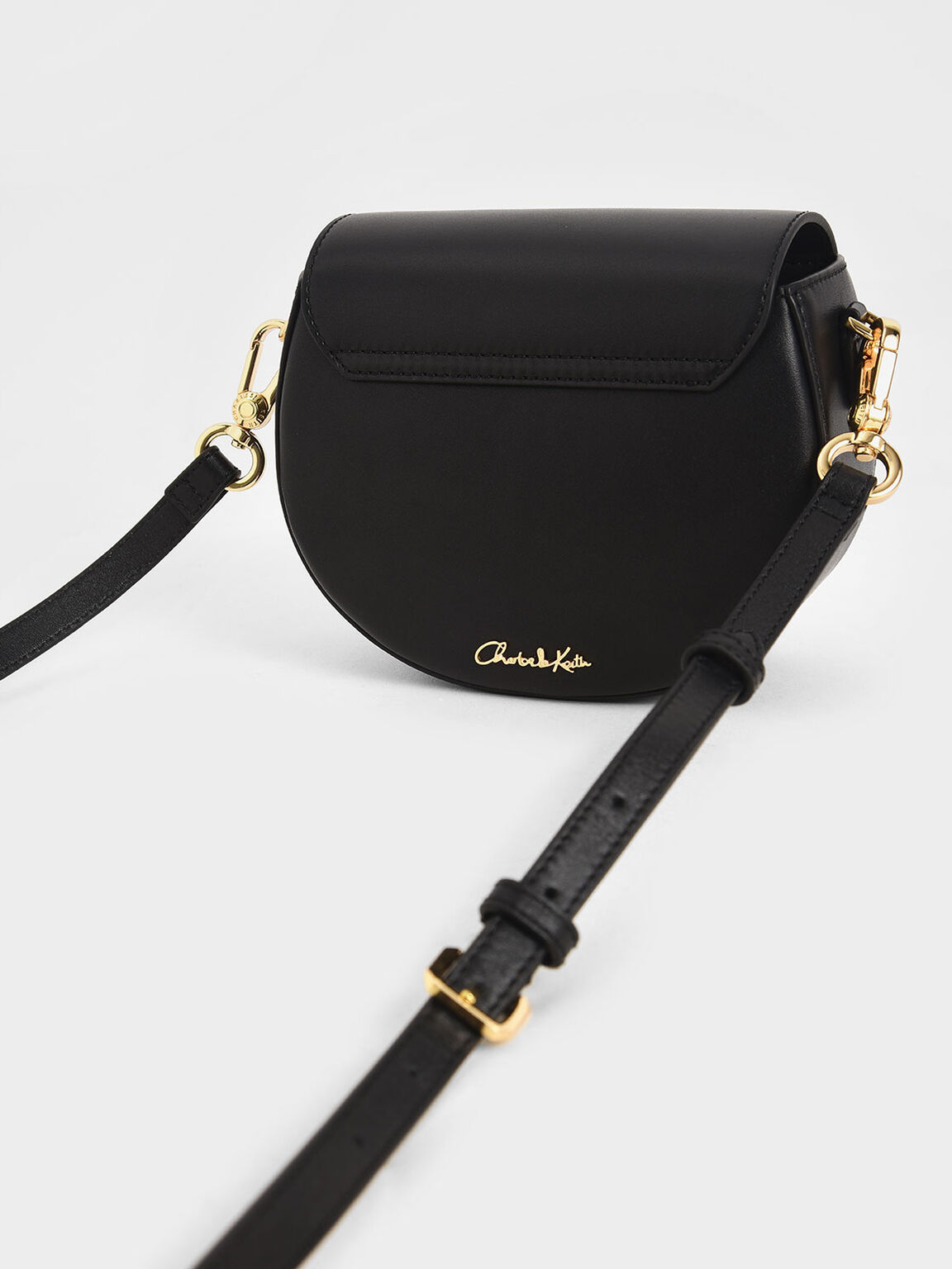 Leather Saddle Bag, Black, hi-res