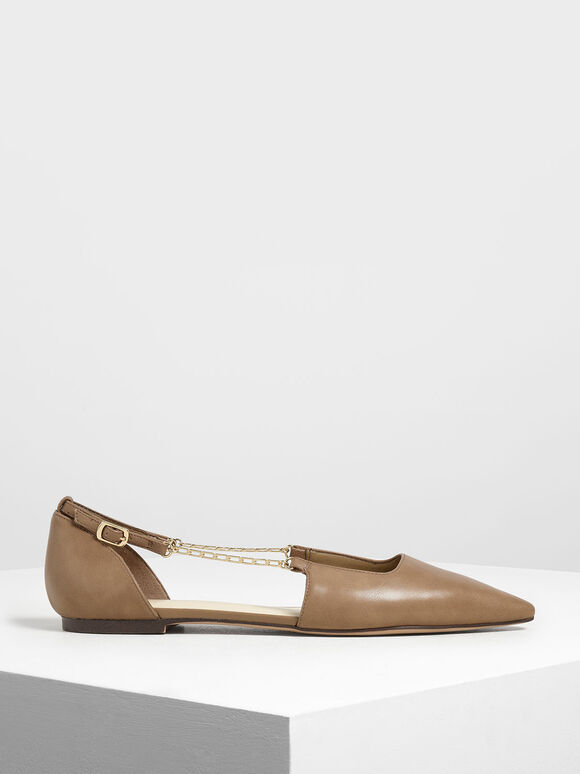 Chain Strap Ballerina Flats, Brown, hi-res