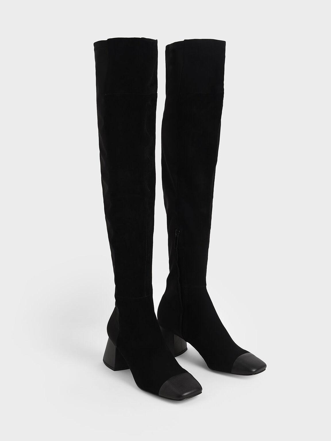 레더 & 키드 스웨이드 사이 하이 부츠, 블랙, hi-res