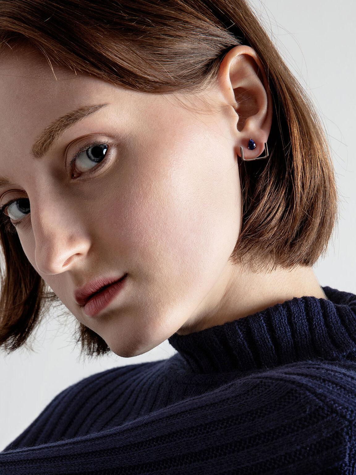 Sodalite Stone Ear Climber Earrings, Silver, hi-res