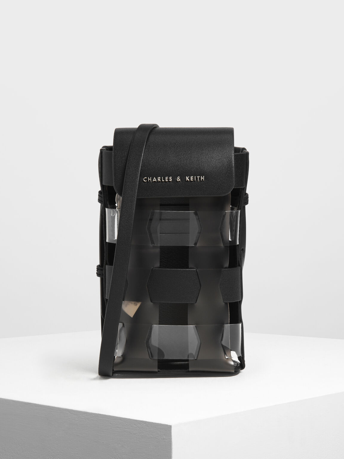 See-Through Woven Pouch, Black, hi-res