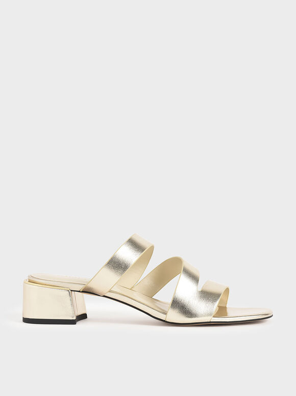 Metallic Block Heel Sandals, Gold, hi-res