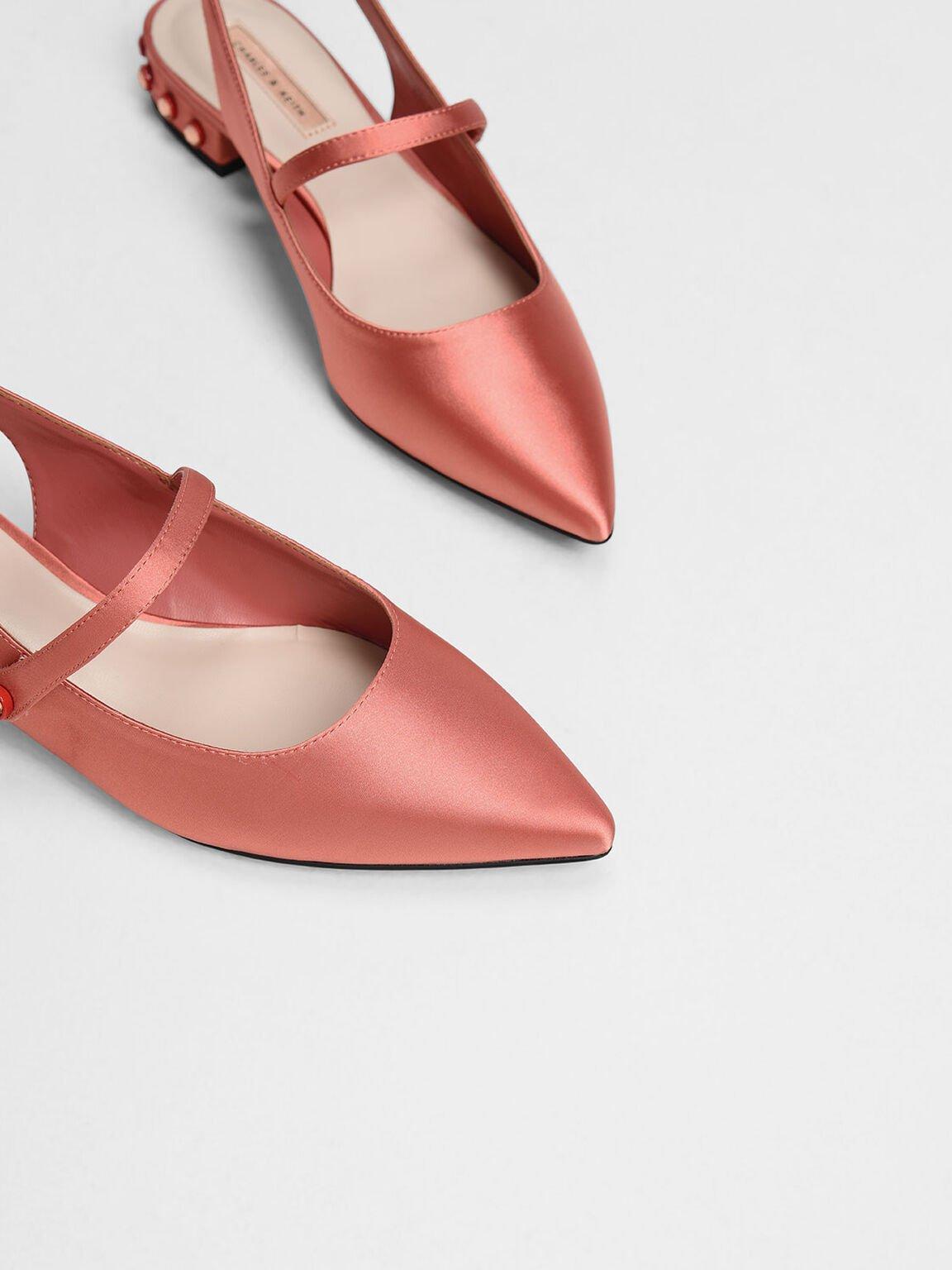 寶石粗跟尖頭鞋, 珊瑚粉, hi-res
