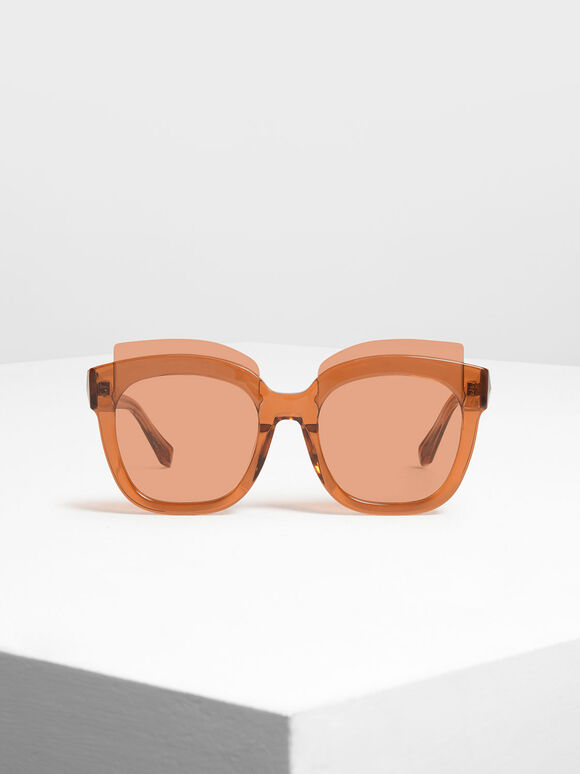 Oversized Lens Sunglasses, Orange, hi-res
