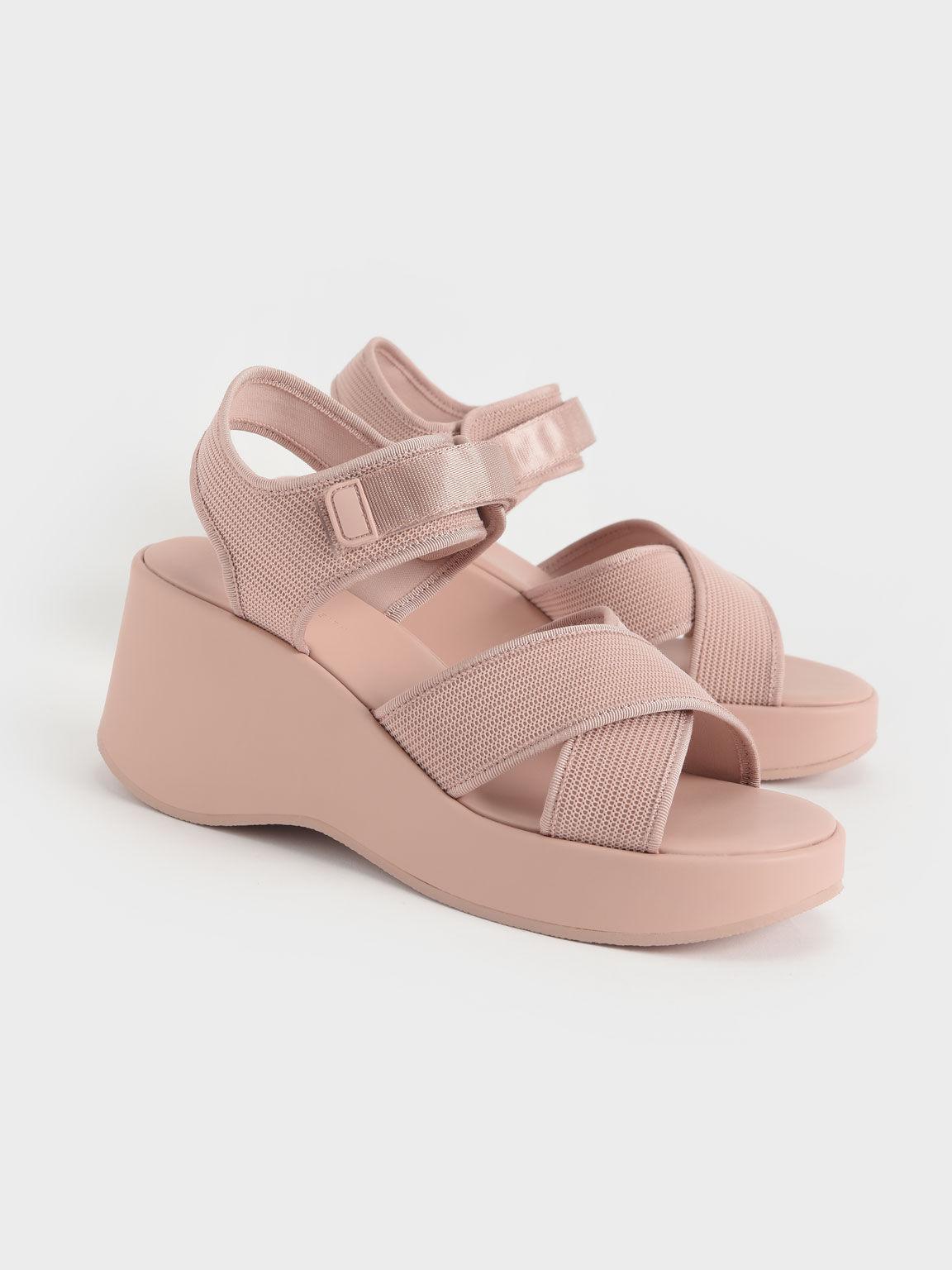交叉帶楔型涼鞋, 米黃色, hi-res