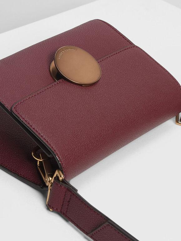 Circular Push Lock Crossbody Bag, Prune, hi-res