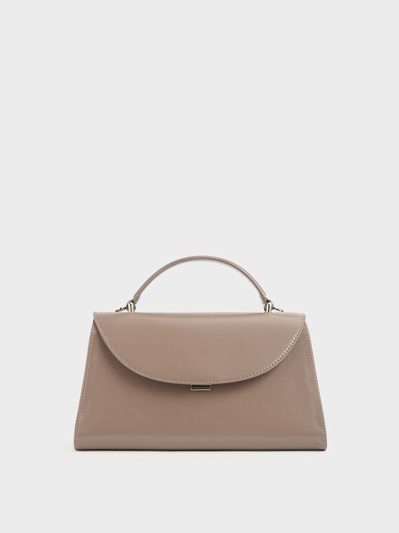 Structured Top Handle Bag, Brown, hi-res