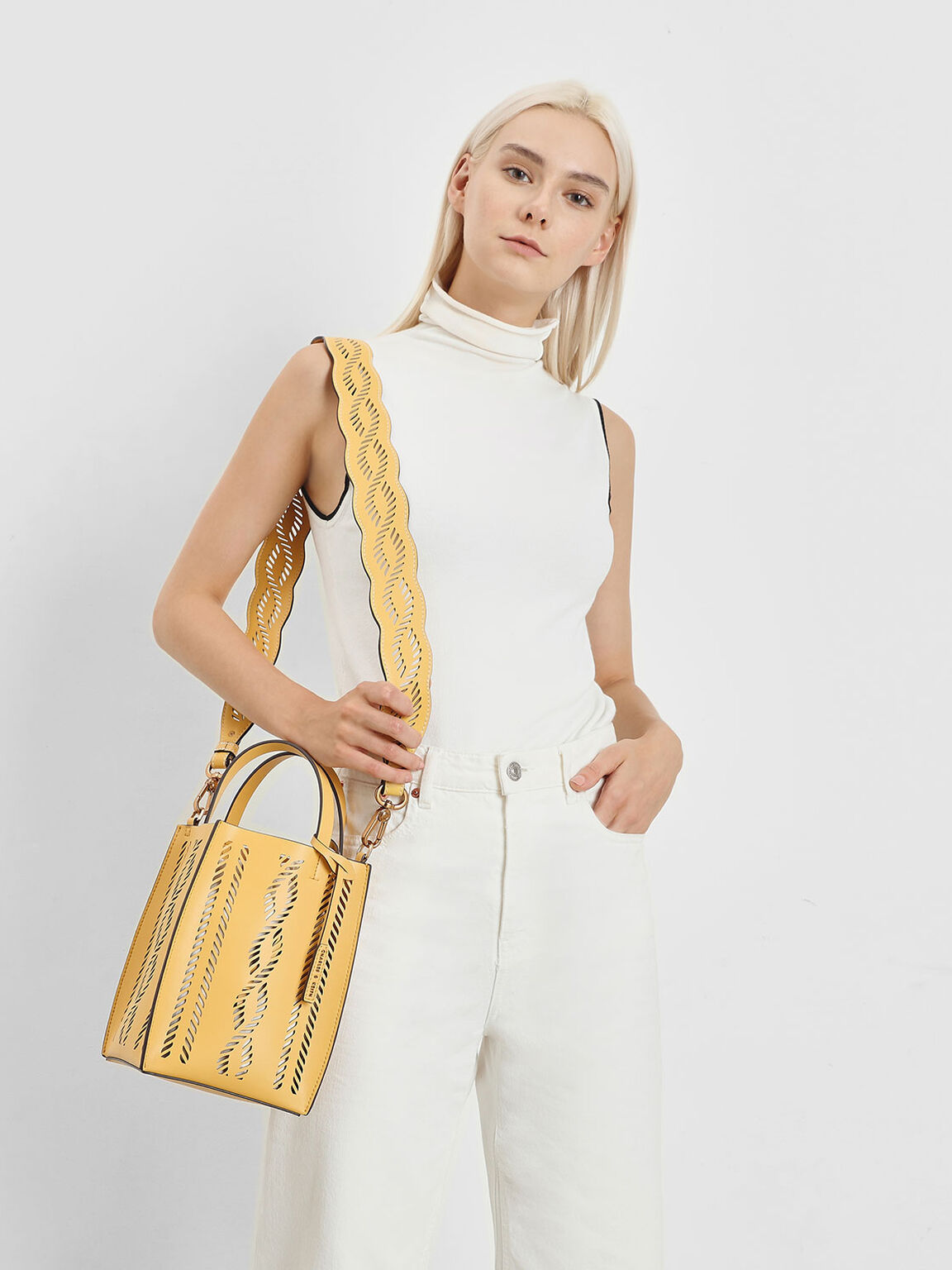 Laser Cut Bag Strap, Yellow, hi-res