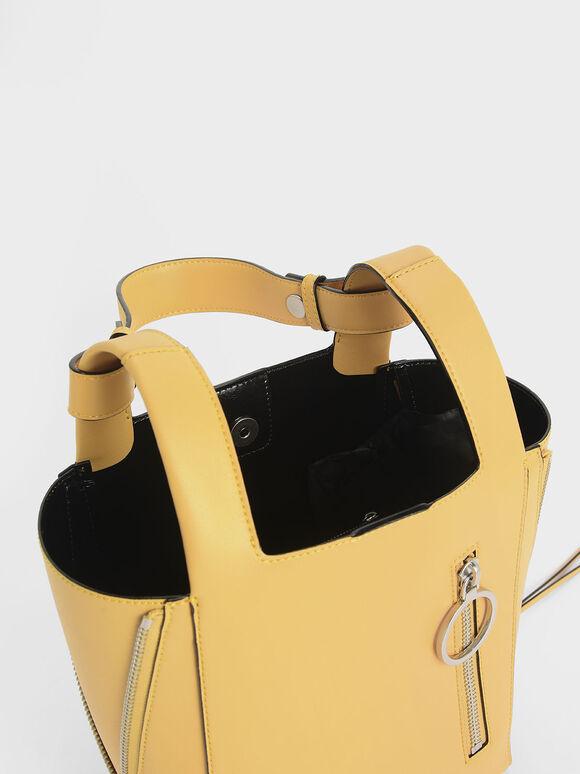 Ring Zip Pocket Square Handle Trapeze Tote, Yellow, hi-res