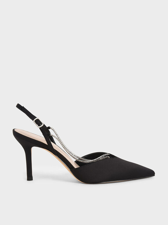 Crystal-Embellished Slingback Pumps, Black, hi-res