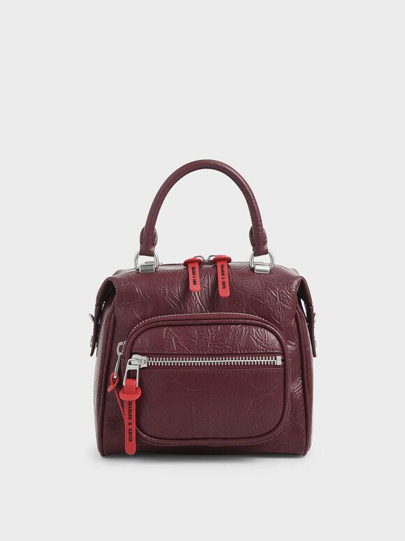 Wrinkled Effect Front Zip Bag, Burgundy, hi-res