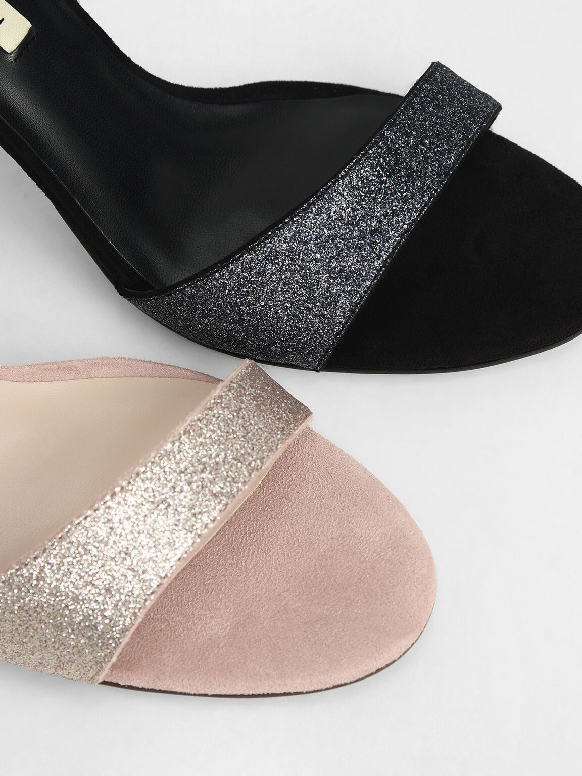 Glitter Ribbon Ankle-Tie Sandals, Champagne, hi-res
