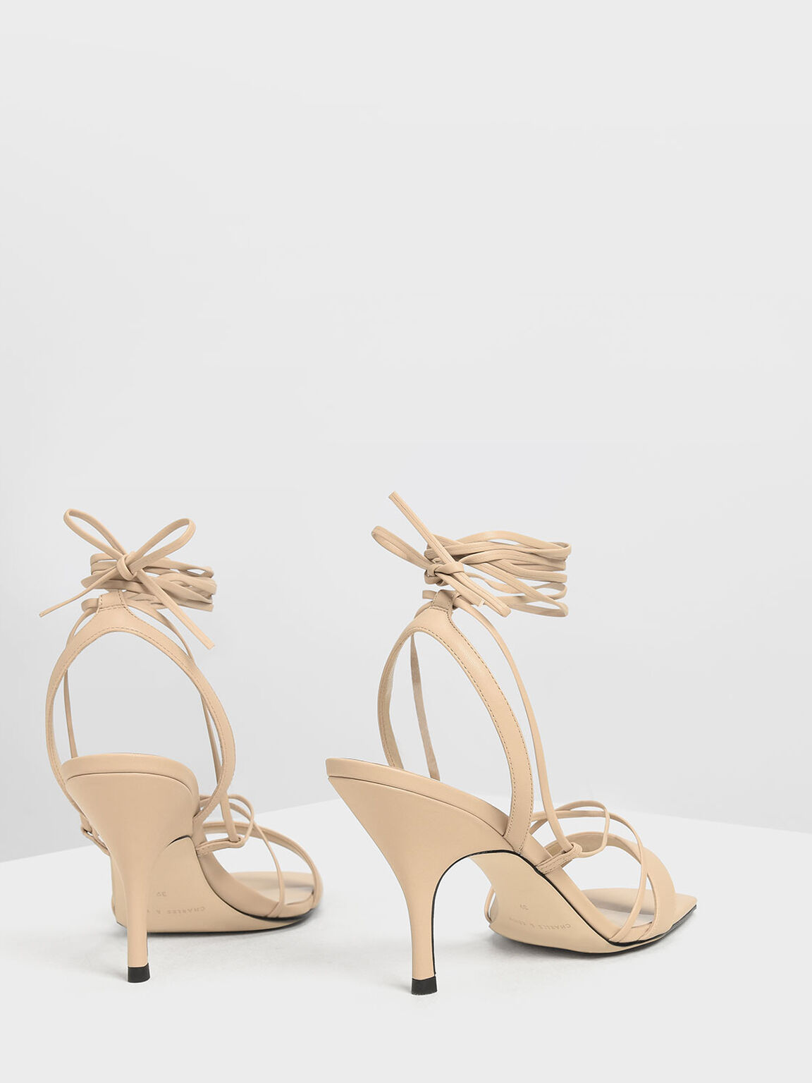 Square Toe Lace-Up Sandals, Nude, hi-res