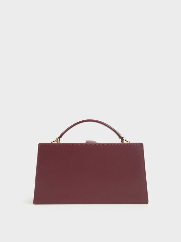 Rectangular Top Handle Bag, Burgundy, hi-res