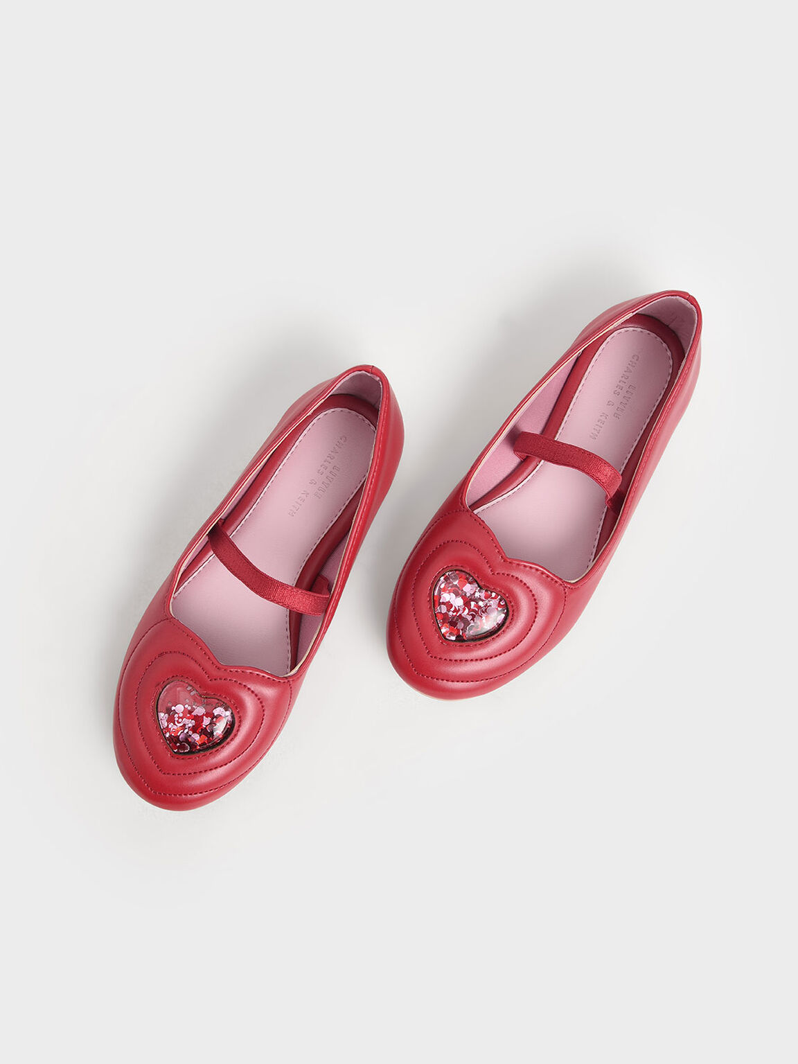 Girls' Sequin Heart Ballerina Flats, Red, hi-res