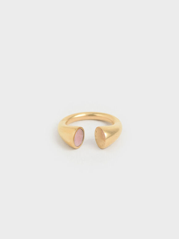 Rose Quartz Open Ring, Gold, hi-res
