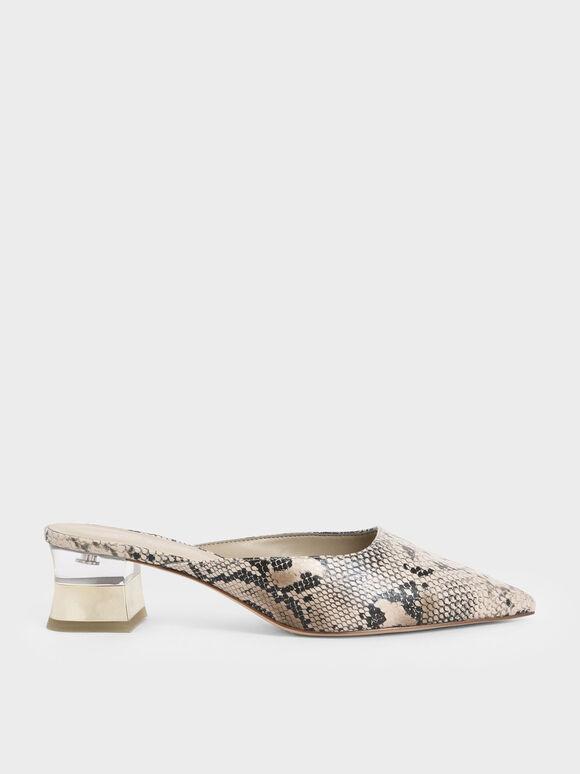 Snake Print Lucite Chrome Heel Mules, Multi, hi-res