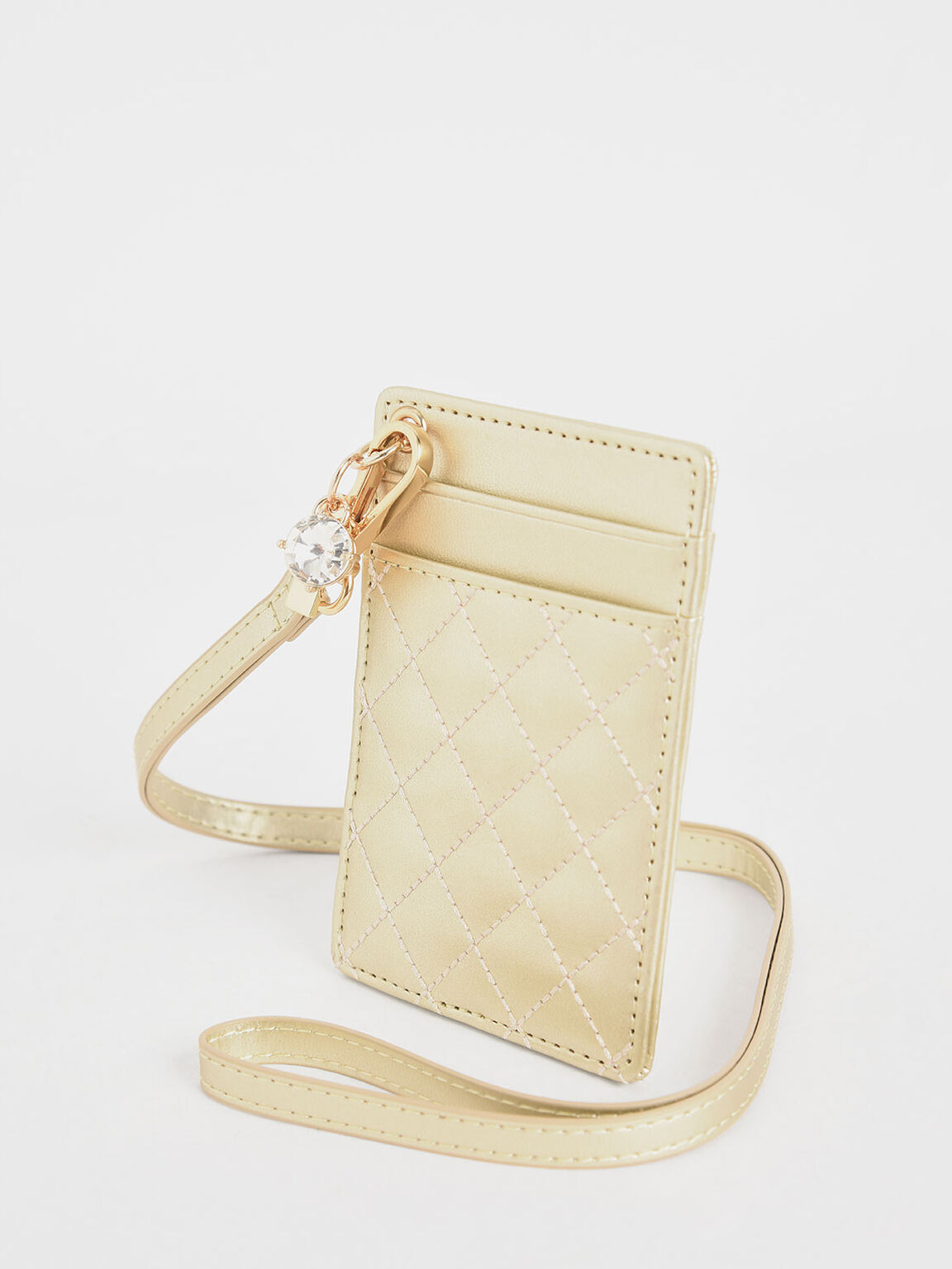 Quilted Card Holder, Gold, hi-res