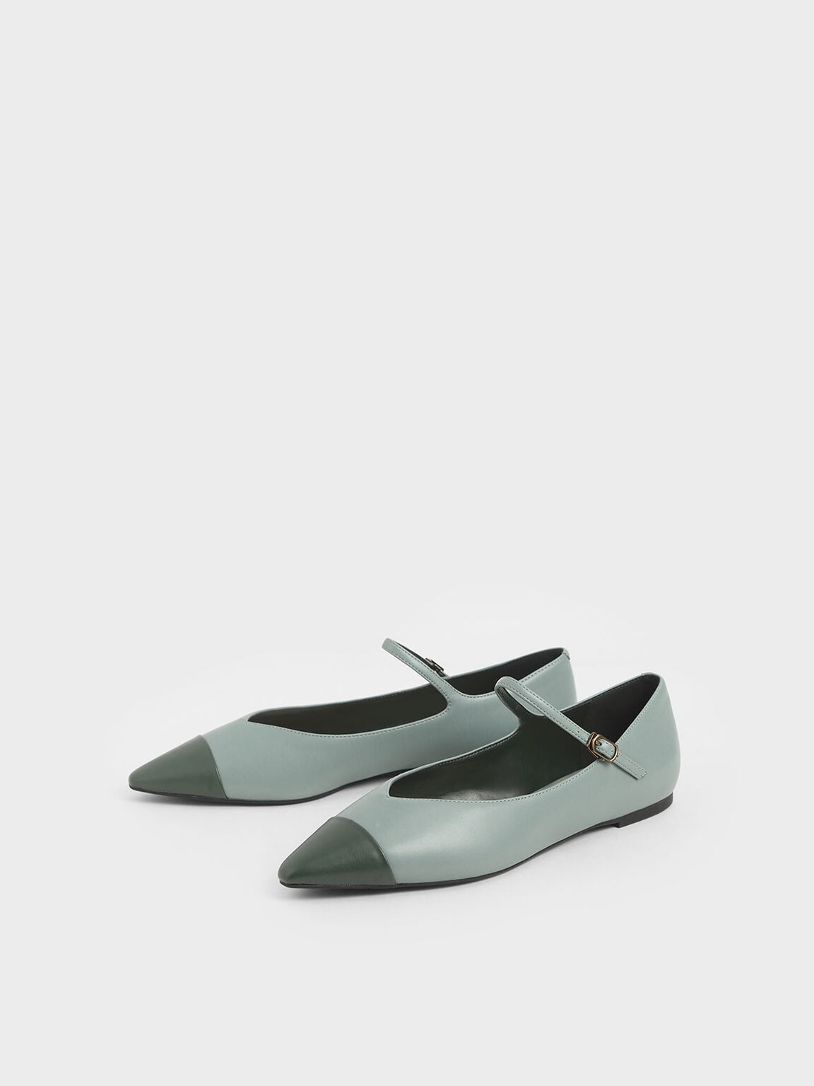 Two-Tone Pointed Toe Mary Jane Flats, Slate Blue, hi-res