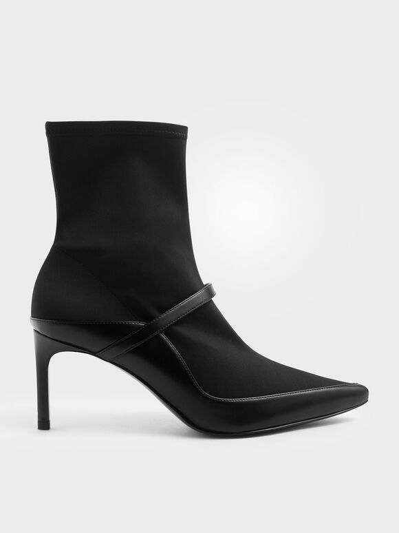 Pointed Toe Sock Boots, Black, hi-res
