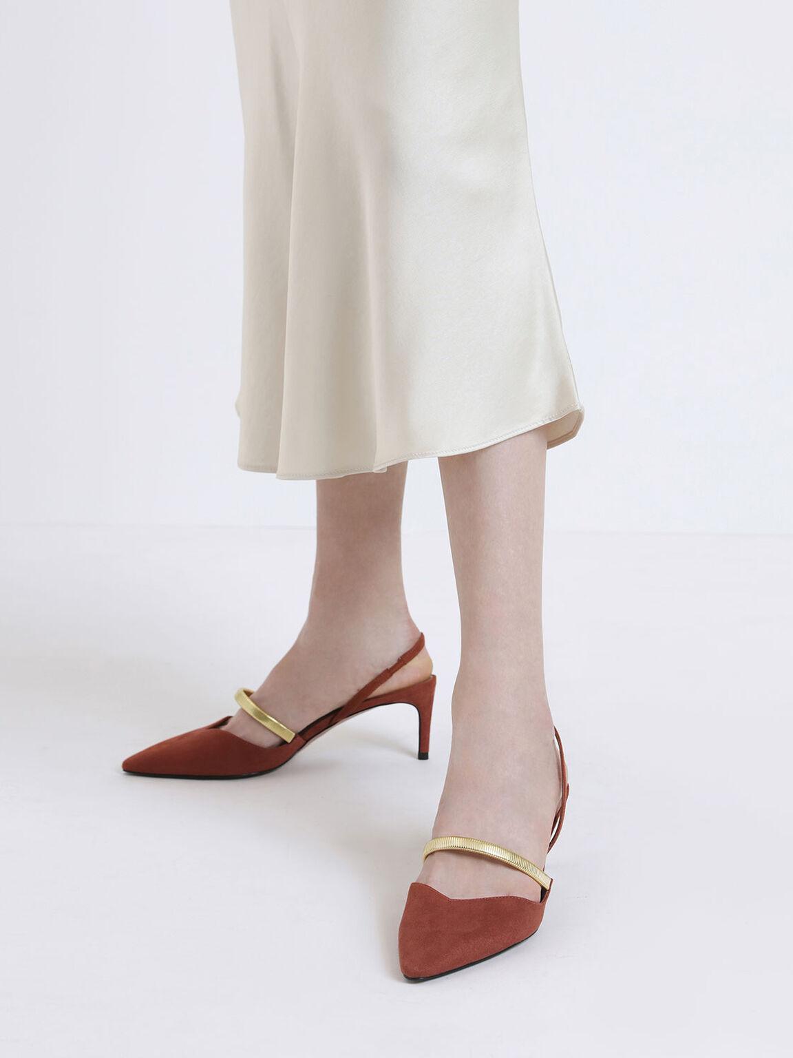 Gold Mary Jane Strap Textured Slingback Heels, Brick, hi-res