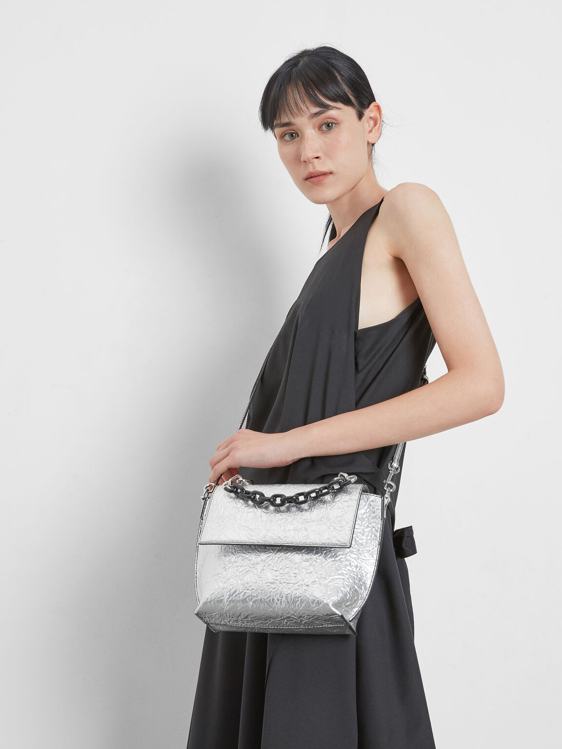 Single Chain Handle Bag, Silver, hi-res