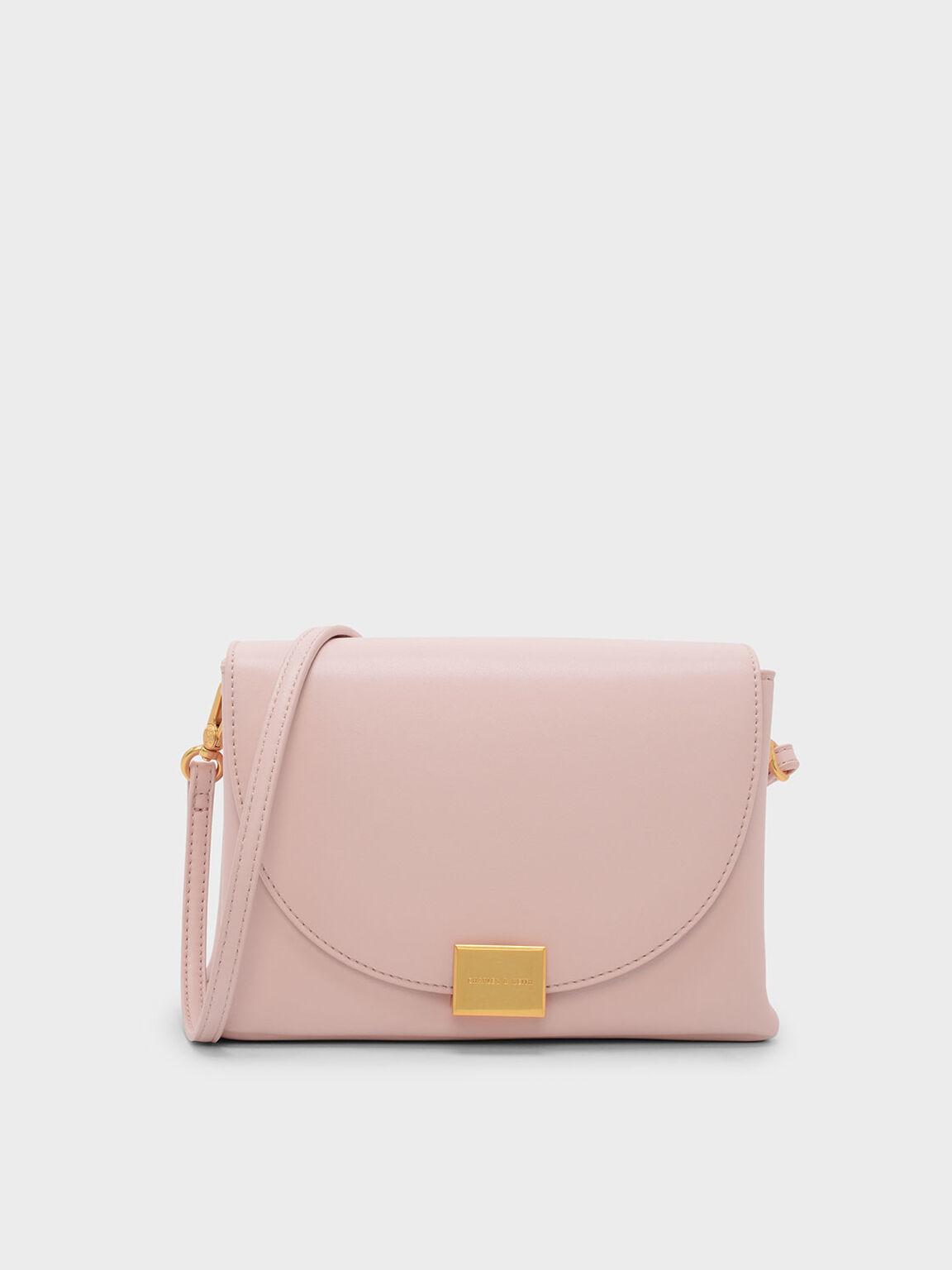 方形扣肩背包, 嫩粉色, hi-res