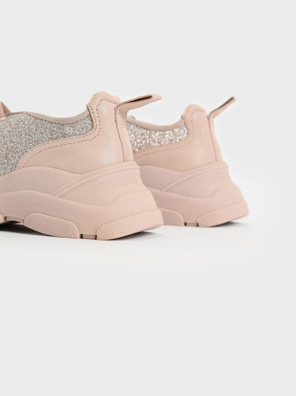Girls' Glitter Chunky Sneakers, Pink, hi-res