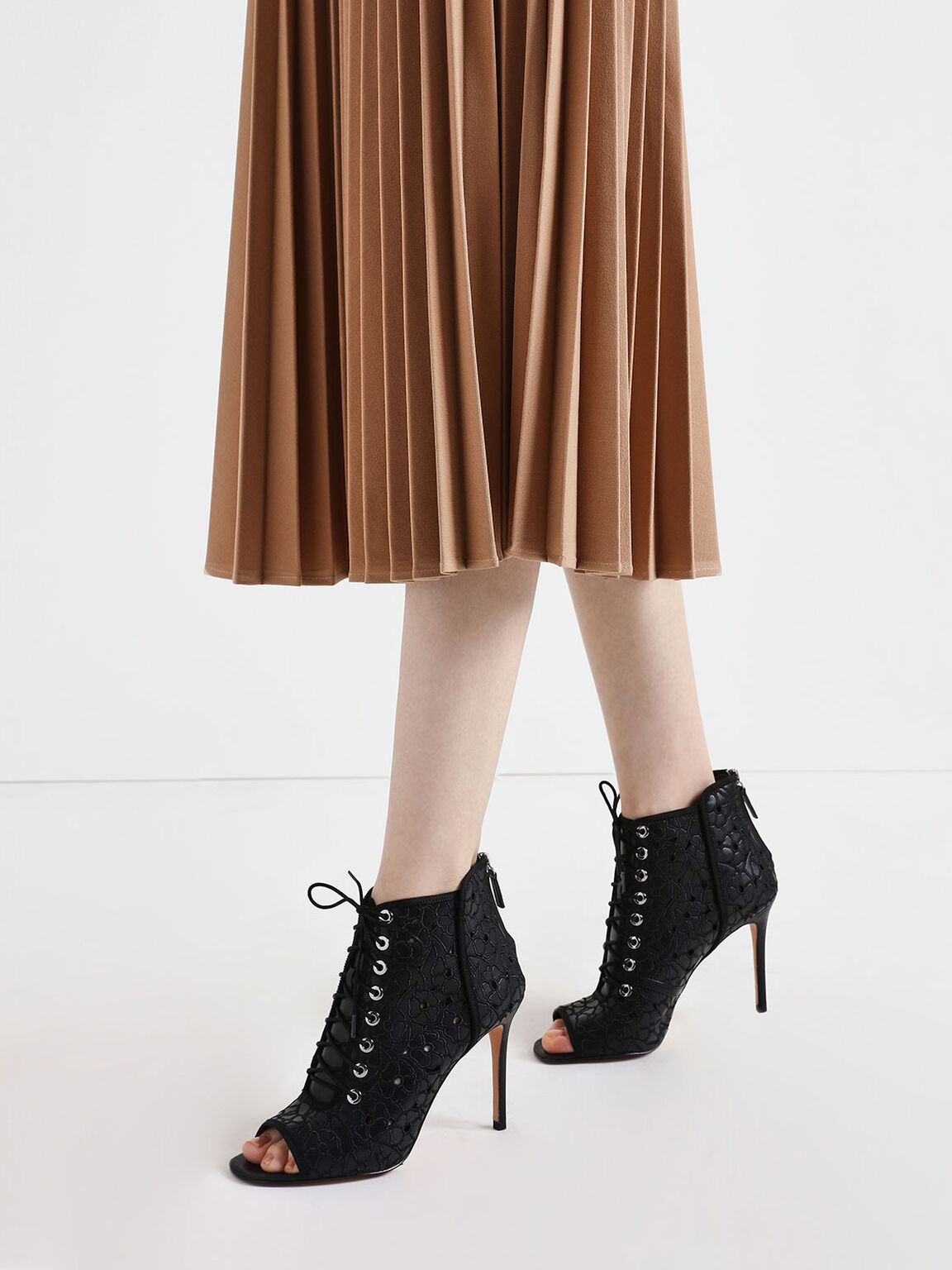 Floral Embroidery Lace-Up Peep Toe Ankle Boots, Black, hi-res