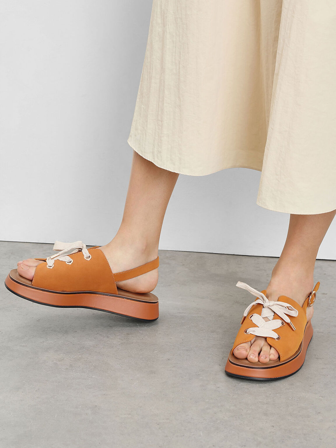 Laced Slingback Flatforms, Orange, hi-res