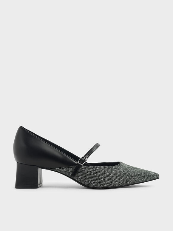 Woven Mary Jane Pumps, Dark Grey, hi-res